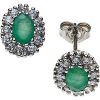 SIGO Ohrstecker oval 925 Sterling Silber rhodiniert mit Zirkonia 2 Smaragde grün Ohrr