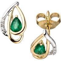 SIGO Ohrstecker 585 Gelbgold bicolor 6 Diamanten Brillanten 2 Smaragde grün