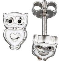 SIGO Kinder Ohrstecker Eule Herz 925 Silber mit Lackeinlage Ohrringe Kinderohrringe