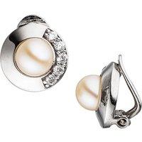 SIGO Ohrclips 925 Silber 2 Süßwasser Perlen mit Zirkonia Ohrringe Clips Perlenclips