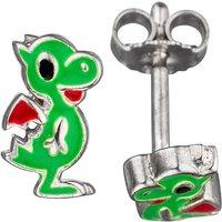 SIGO Kinder Ohrstecker Drache grün 925 Sterling Silber Ohrringe Kinderohrringe