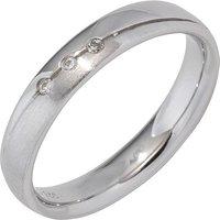 SIGO Partner Ring 925 Sterling Silber rhodiniert mattiert 3 Zirkonia Silberring