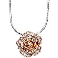 SIGO Kette mit Anhänger Blume Rose 925 Silber bicolor vergoldet 66 Zirkonia 45 cm