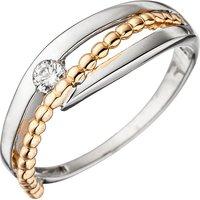 SIGO Damen Ring 333 Gold Weißgold Rotgold bicolor 1 Zirkonia Goldring