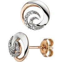 SIGO Ohrstecker 585 Gold Weißgold Rotgold bicolor 18 Diamanten Brillanten Ohrringe