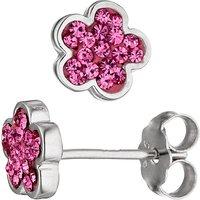 SIGO Ohrstecker Blume 925 Sterling Silber Glassteine pink Ohrringe Silberohrringe