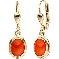 SIGO Ohrhänger oval 333 Gold Gelbgold 2 Korallen orange Ohrringe Goldohrringe