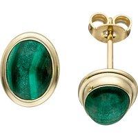 SIGO Ohrstecker oval 585 Gold Gelbgold 2 Malachite grün Ohrringe Goldohrringe