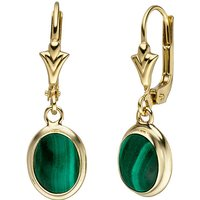 SIGO Ohrhänger oval 585 Gold Gelbgold 2 Malachite grün Ohrringe Goldohrringe
