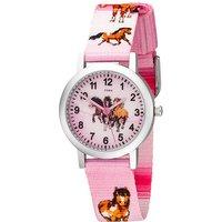 JOBO Kinder Armbanduhr Pferde rosa pink Aluminium Kinderuhr Pferdeuhr Mädchenuhr - Angebote