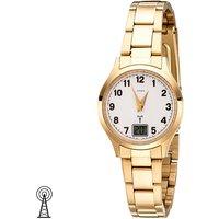 JOBO Damen Armbanduhr Funk Funkuhr Edelstahl gold vergoldet Damenuhr mit Datum - Angebote