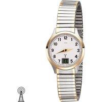 JOBO Damen Armbanduhr Funk Funkuhr Edelstahl bicolor vergoldet Flexband Datum - Angebote