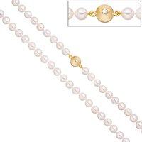 SIGO Perlenkette aus Akoya Perlen 45 cm Schließe 925 Silber gold vergoldet 2 Zirkonia