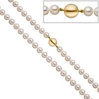 SIGO Perlenkette aus Akoya Perlen 45 cm Schließe 925 Silber gold vergoldet matt