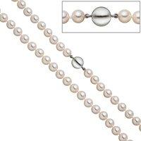 SIGO Perlenkette aus Akoya Perlen 45 cm Schließe 925 Sterling Silber matt