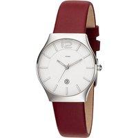 JOBO Damen Armbanduhr Quarz Analog Edelstahl Lederband rot Datum Damenuhr - Angebote