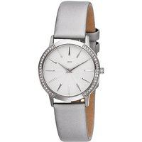 JOBO Damen Armbanduhr Quarz Edelstahl mit SWAROVSKI® ELEMENTS Lederband grau - Angebote