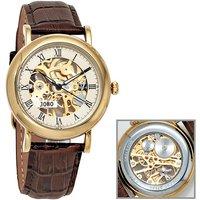 JOBO Herren Armbanduhr Handaufzug Skelett-Werk Glasboden - Angebote
