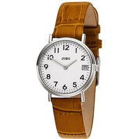 JOBO Damen Armbanduhr Quarz Analog Edelstahl Lederband braun Datum Damenuhr - Angebote