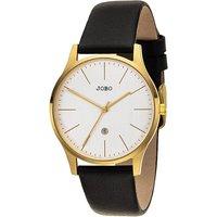 JOBO Damen Armbanduhr Quarz Analog Edelstahl vergoldet Lederband Datum - Angebote
