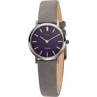 JOBO Damen Armbanduhr Quarz Analog Titan Lederband grau - Angebote