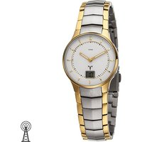 JOBO Damen Armbanduhr Funk Edelstahl bicolor vergoldet mit Datum - Angebote