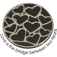 Quoins Wechsel-Münze Love is the Brigde between two Hearts, PVD Black Plated, L