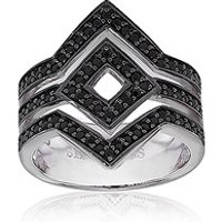 Sif Jakobs Ring 925 Silber Cervia mit schwarzem Zirkonia, 56 / 17,8