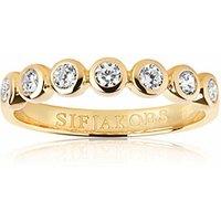 Sif Jakobs Ring 925 Silber Sardinien Sette 18k Gelbgold plattiert mit weißen Zirkonia,  54 / 17,2