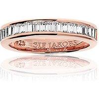 Sif Jakobs Ring 925 Silber Corte Baguette - 18k Roségold plattiert mit Zirkonia, 56 - 17,8