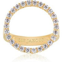 Sif Jakobs Ring 925 Silber Biella Grande 18k Gelbgold plattiert mit weißen Zirkonia, 54 / 17,2