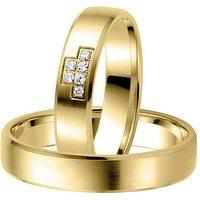 LOVE by Goettgen Trauringe Paar, Gelb 333 Gold, Eheringe, bei Damenring inkl. 6 Brillanten - Angebote