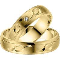 LOVE by Goettgen Trauringe Paar, Gelb 333 Gold, Eheringe, bei Damenring inkl. 1 Brillant