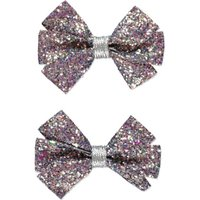 George Glitter Bow Clips 2 Pack - Silver