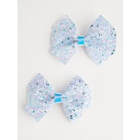 George Purple Glittering Bow Hair Clips 2 Pack - Multi