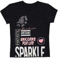 George Glittering Slogan T-Shirt - Black