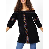 George Maternity Embroidered Bardot Top  Black, Black