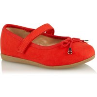 George Red Faux Suede 1 Strap Ballet Shoes