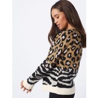 George Chocolate Brown Animal Print Knitted Jumper