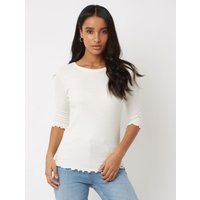 George Cream Ribbed Lettuce Edge Top