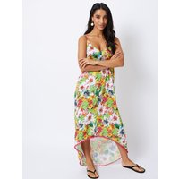 George Floral Dipped Pom Pom Hem Maxi Cover Up Dress - Yellow