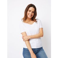 George White Ribbed V-Neck Bardot Top
