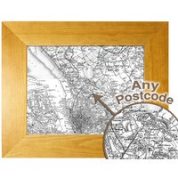 Personalised Postcode Map 10x8 Oak Effect Frame - Old Series Picture