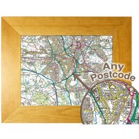 Personalised Postcode Map 10x8 Oak Effect Frame - Present Day Picture