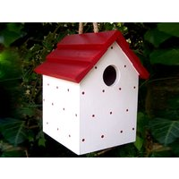 Handmade Hanging Red Polka Dot Bird House - Handmade Gifts