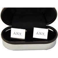 Personalised Rectangle Silver Plated Cufflinks - Cufflinks Gifts