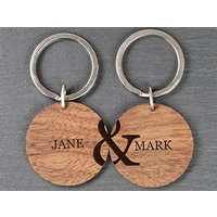 Personalised Couples Set Of Two Wooden Keyrings Picture