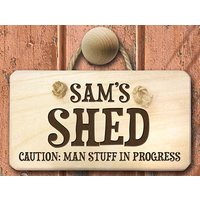 Caution - Man Stuff Personalised Wooden Sign Picture