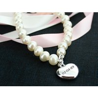 Personalised Pearl Bracelet With Heart Charm - Pearl Gifts