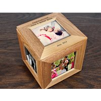 Personalised Oak Photo Cube Keepsake Box Picture